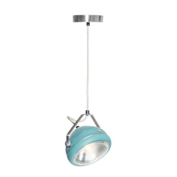 No.5 Hanglamp vintage koplamp aqua