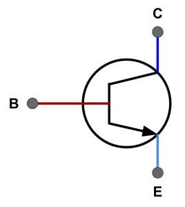Símbolo de un transistor NPN