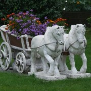 Kitsch horses as lawn decoration