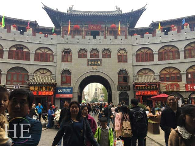 elaborate gate greeting in old city luoyang china