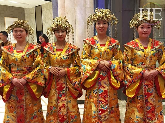 fancy lady greeters at a water banquet in luoyang china
