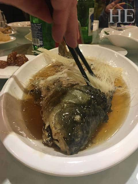 a delicious cod is served at lunch in zhengzhou china