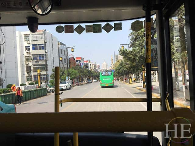 view from a public transportation bus in xi'an china