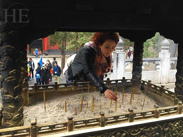 incense are planted for past present and future wishes at the shaolin temple in china