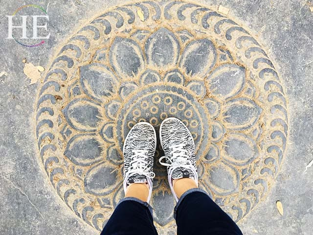 lotus tiles bring luck to whoever walks over seven at the shaolin temple in china
