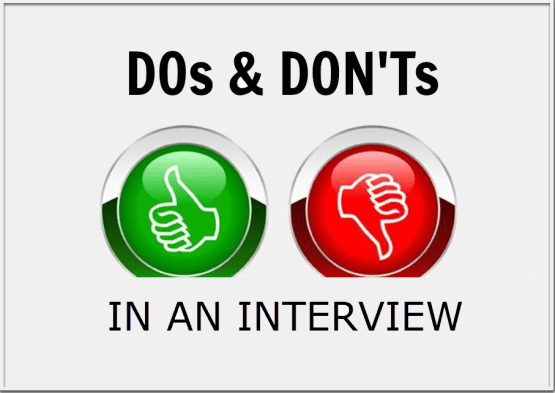 Image result for dos and don'ts in interview