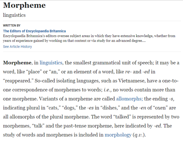 Encyclopedia Britannica - Morpheme
