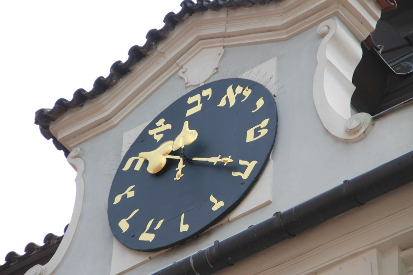 Jewish Clock at City Hall in Prague