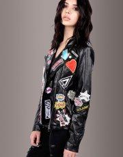 Rebel Rebel Black Moto Jacket With Patches
