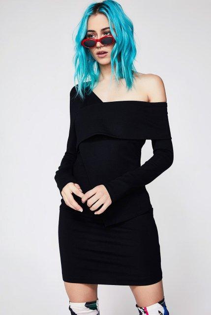Lavish Alice Ponte Asymmetric Mini Dress