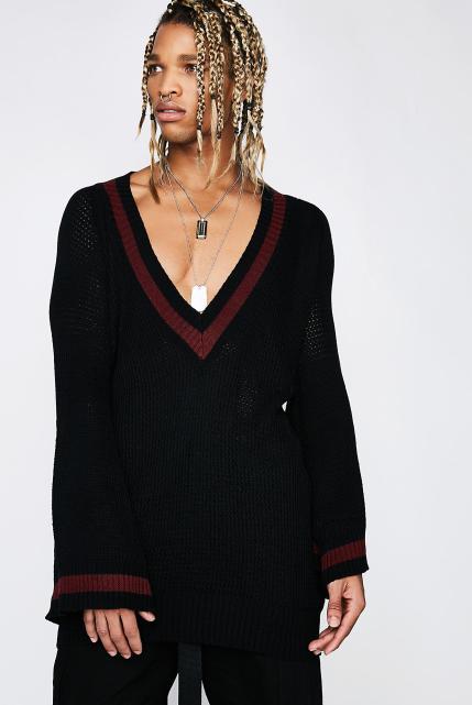 Poster Grl Top Spot V-Neck Sweater
