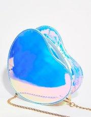 Blue Holographic Heart Crossbody Bag
