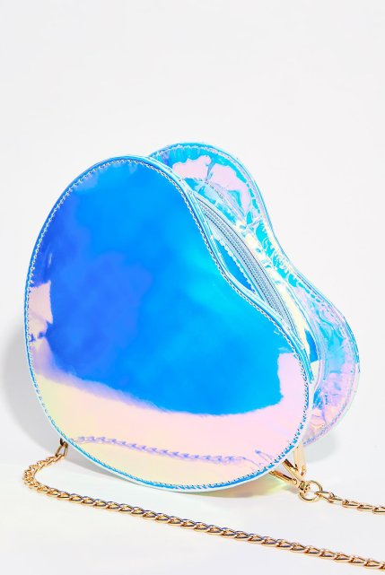 Blue Holographic Heart Crossbody Bag