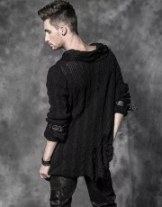 Punk Rave Ripped Casual Turn-Down Collar Black Sweater