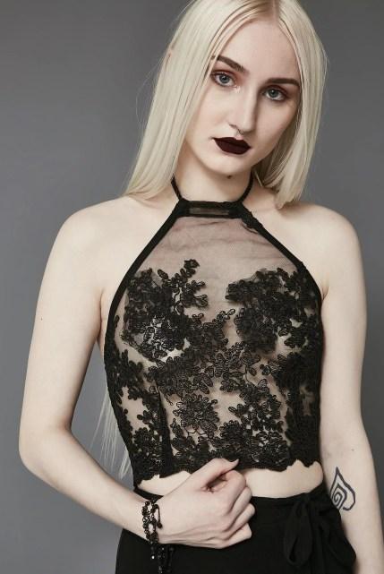 Widow Ritual Lace Halter Top
