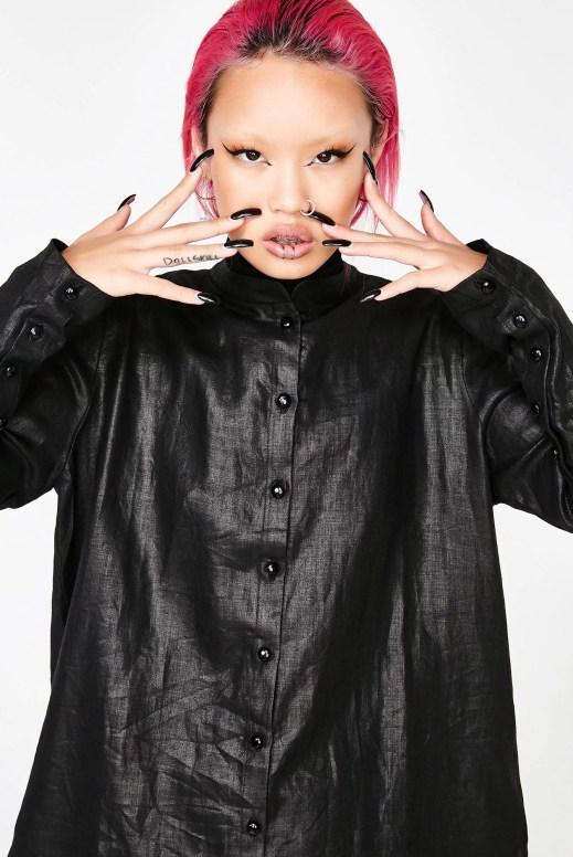 Matter of Black Crinkled Linen Button Up Shirt