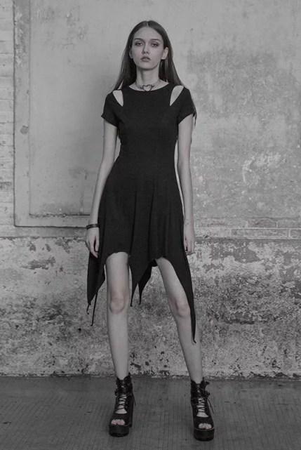 Punk Rave Asymmetrical Cold Shoulder Dress