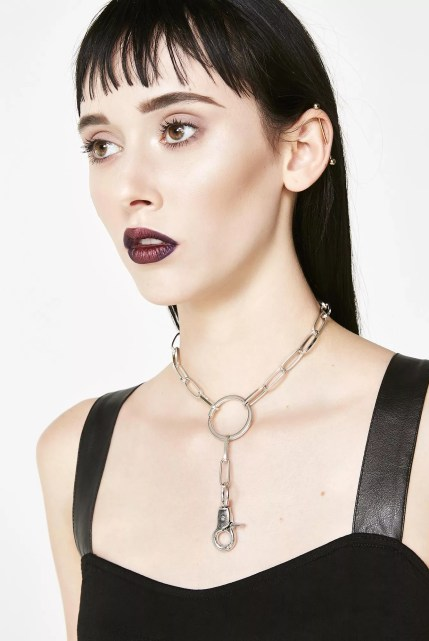 Silver Chain Link Lariat Choker