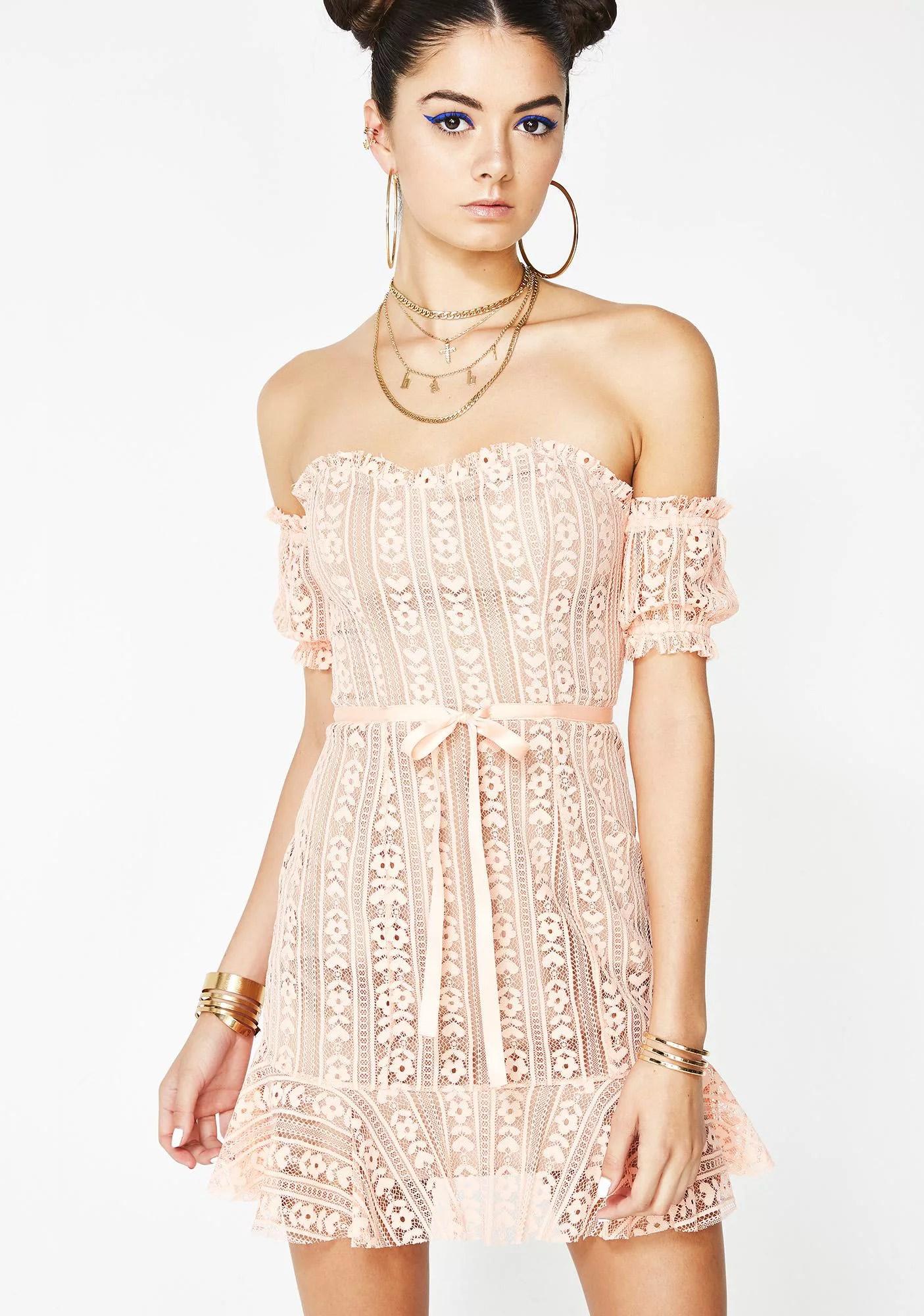 For Love Lemons Peach Dakota Lace Mini Dress Hex Libris