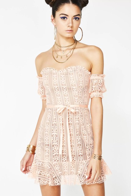 For Love & Lemons Peach Dakota Lace Mini Dress