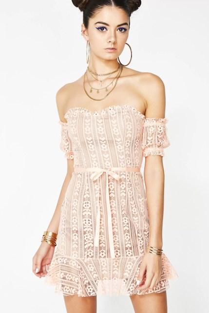 For Love & Lemons Peach Dakota Lace Mini Dress