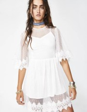 Ivory Embroidered Sheer Babydoll Dress