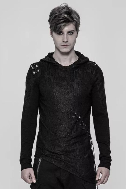 Punk Rave Asymmetric Hooded Mens Top