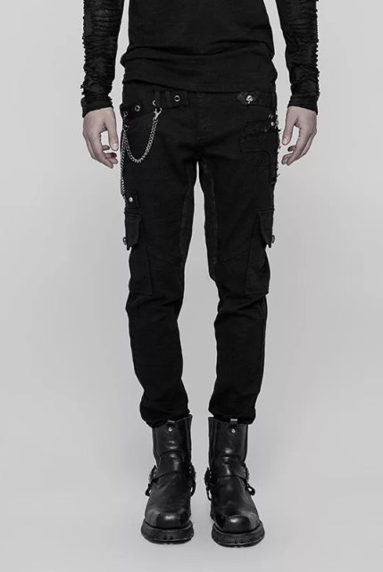 Punk Rave Skinny Patch Pocket Punk Trousers