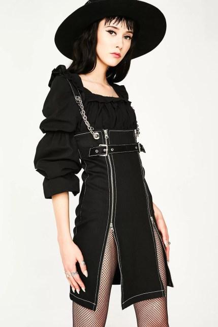 Stuck on Stupid Zip Front Black Denim Dress