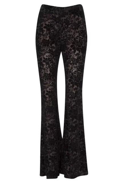 Black Floral Burnout Velvet Flared Bell Bottom Pants