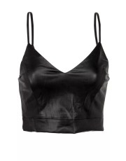 Black Faux Leather Bralette Crop Top