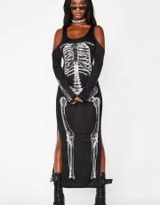 Halloween Cold Shoulder Skeleton Black Dress
