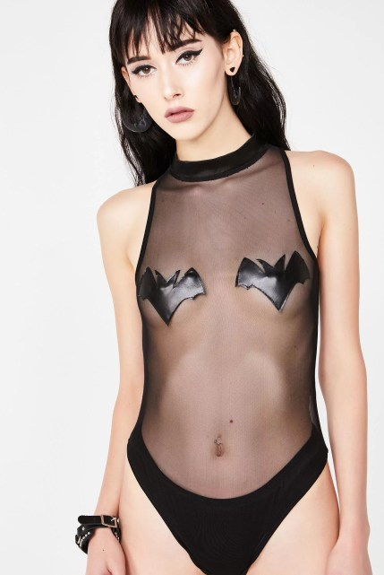 Halloween Dolls Kill Sheer Bat Bodysuit