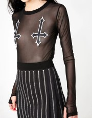 Halloween Dolls Kill Upside Down Cross Sheer Top