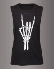 Hell Raiser Skeleton Heavy Metal Hand Loose Fit Tank Top