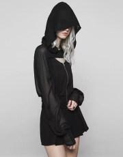Punk Rave Deep Hooded Sheer Punk Coat