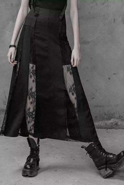 Punk Rave Lace Paneled Skirt