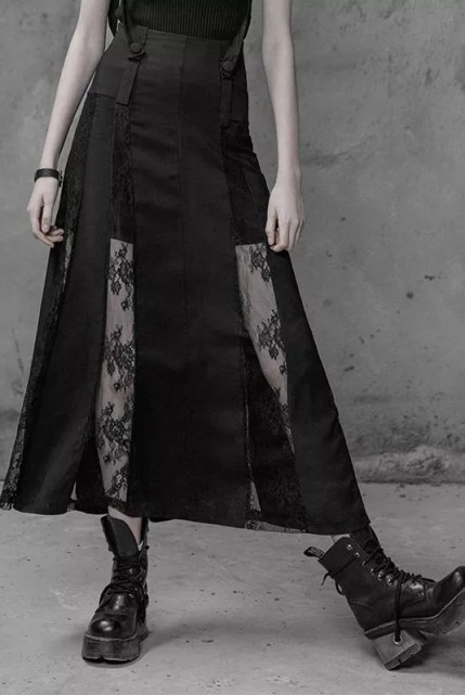 Punk Rave Lace Paneled Skirt