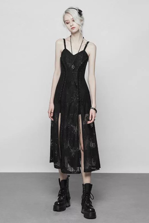 Punk Rave Lace Trim Midi Dress