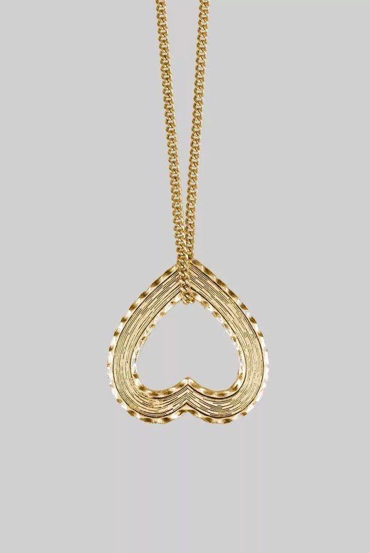 Regal Rose Heart Charm Pendant Necklace