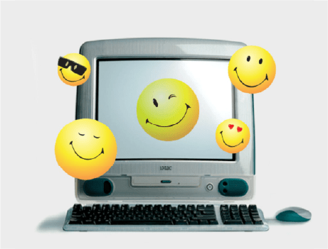 Smiley Faces over computer