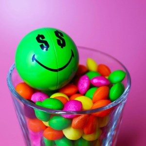 Green Smiley Halves in a glass of sweets