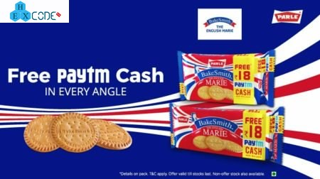 Paytm- Get 18 Rs Free Paytm cash on Parle Bake Smith Biscuits