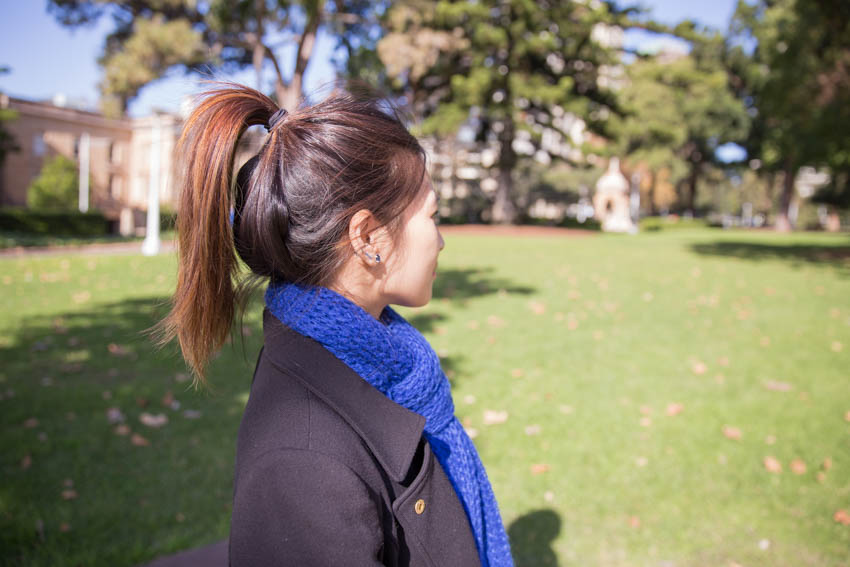 Side shot of me showing my hair tied up in a high ponytail