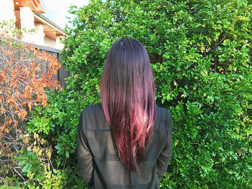 Back view of my hair in the sun