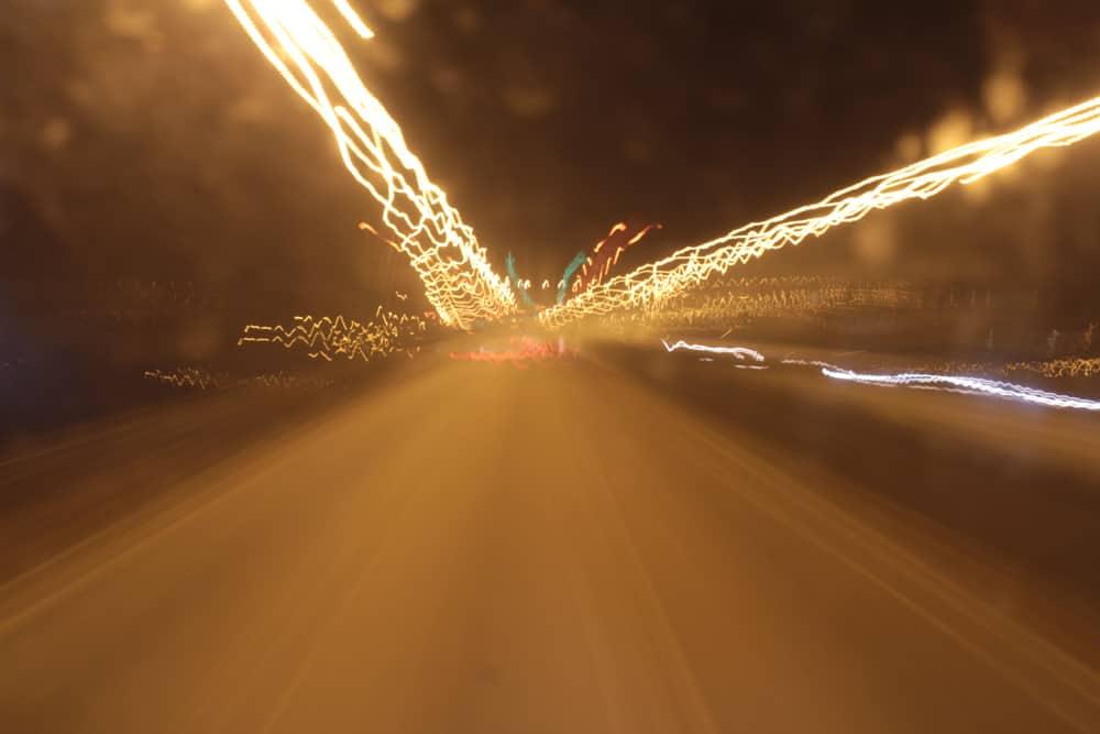 Long exposure shot from night bus