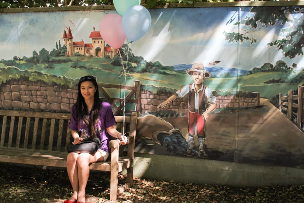 Me with balloons and the Baa Baa Black Sheep painting