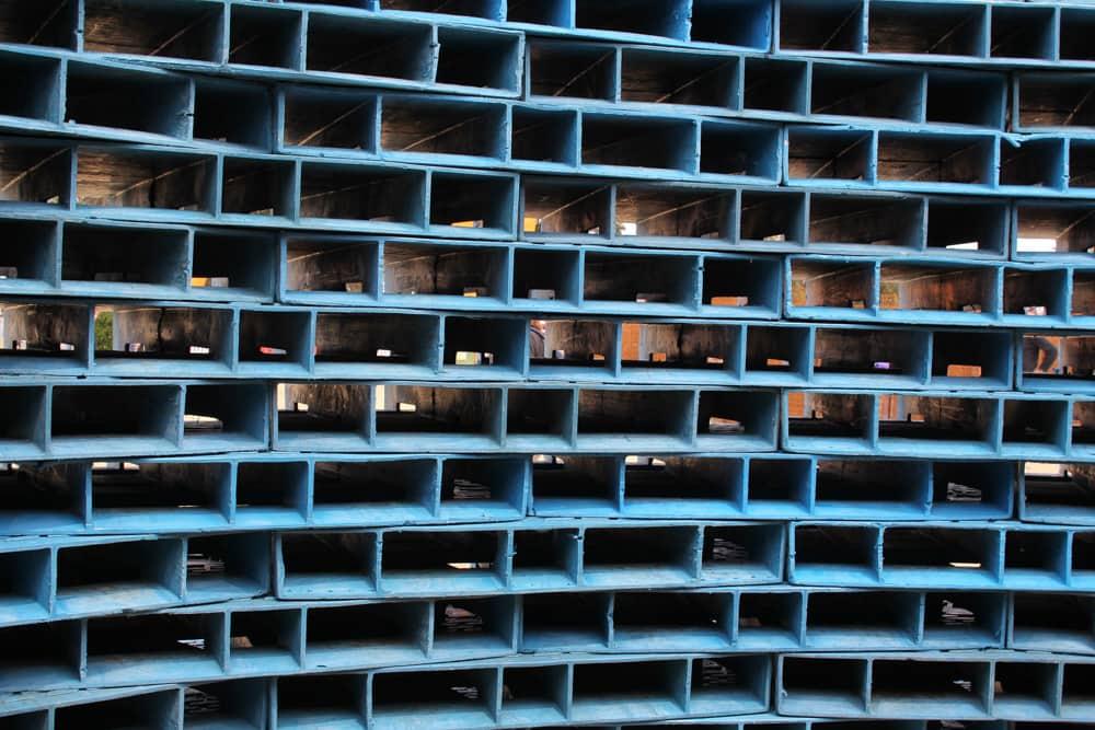 The inside of Clayton Blake's 'pallet pavilion'