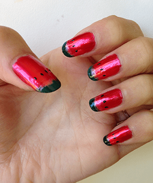 Watermelon-style nails