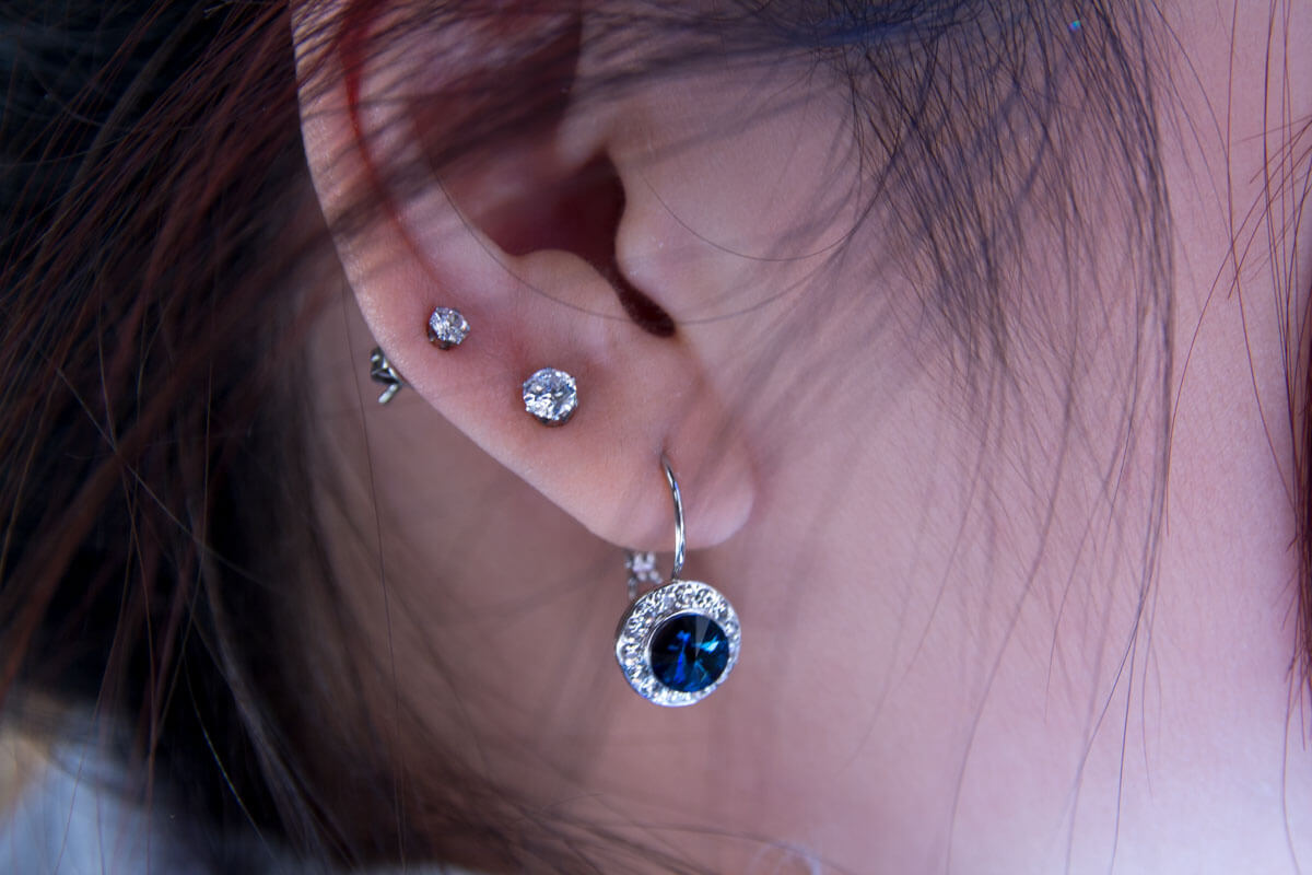 Blue stone earrings and small CZ studs